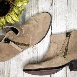 Nine West taupe suede leather booties